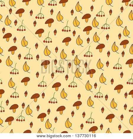 Hand drawn autumn background with different autumn leaves seamless pattern design colorful illustration.