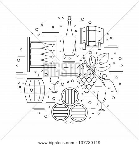 Round composition with winery symbols. Grapes, oak barrel, wine bottle, wine glass, wine tank, wine storage cellar. Vector graphic design elements isolated on white background.