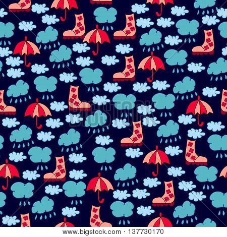Autumn seamless pattern with clouds raindrops boots and umbrellas on dark blue background.