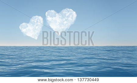 Ocean With Heart Clouds