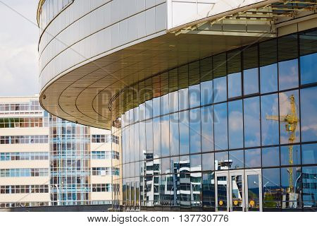 MINSK BELARUS - MAY 03 2016: Minsk-Arena - a sports and entertainment complex in the city of Minsk Belarus. Close-up of modern industrial architecture of steel and glass.