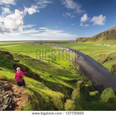 View at beautiful mountain landscape in Iceland