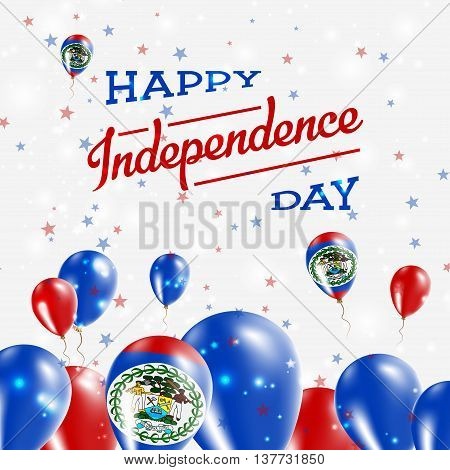 Belize Independence Day Patriotic Design. Balloons In National Colors Of The Country. Happy Independ