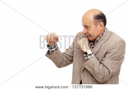 Elderly Man In Suit Boxing
