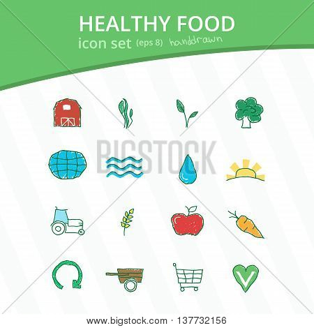 Healthy eco farm food isolated hand drawn icon set