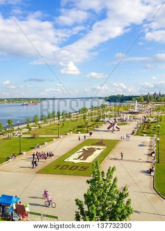 YAROSLAVL RUSSIA - MAY 23 2015: View of the city park in Yaroslavl located along the Volga river embankment a popular touristic landmark. Photo taken with smart phone camera.