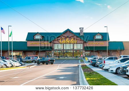 LEXINGTON KY USA - MARCH 16 2016. Cabelas opens its Lexington store on March 16 2016. Cabelas retails hunting fishing and outdoor gear.