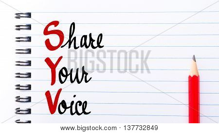 Syv Share Your Voice Written On Notebook Page