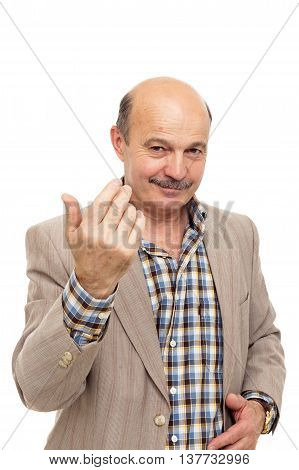 elderly bold man beckons someone with finger