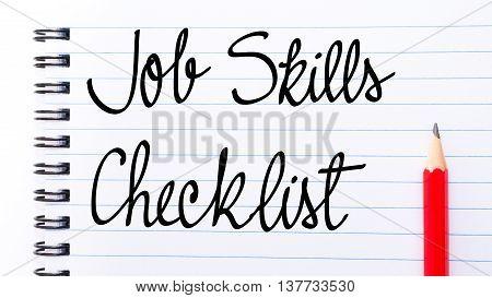 Job Skills Checklist Written On Notebook Page