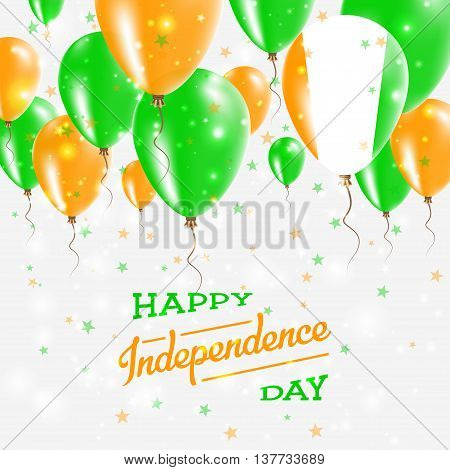 Cote D'ivoire Vector Patriotic Poster. Independence Day Placard With Bright Colorful Balloons Of Cou
