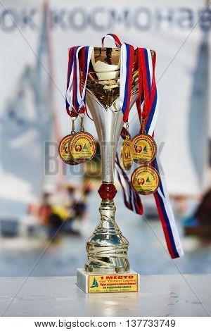 Kaliningrad Russia - July 09 2016: Regatta cup cosmonaut Leonov on the podium at the Verhnee Lake on City Day of Kaliningrad