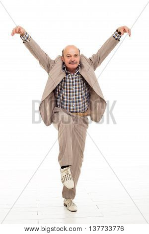 Fighting At Work Problems. Elderly Man Fooling Around After Work