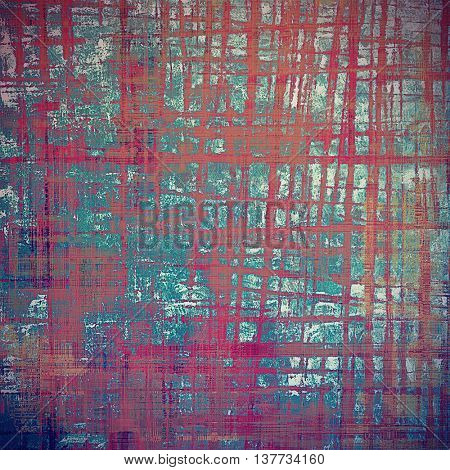 Oldest vintage background in grunge style. Ancient texture with different color patterns: brown; blue; cyan; red (orange); purple (violet); pink