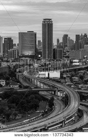 Black and White, City highway interchanged with office building background