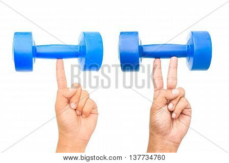 strong finger and two strong fingers holding dumb bell isolated on white background