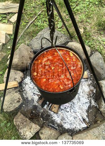 Cooking stew outdoor