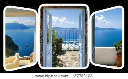 The open gate and stairs, leading to a sea. The set from views in Oia, Santorini, Greece