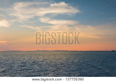 Ocean seacoast skyline with sunset sky background, natural landscape