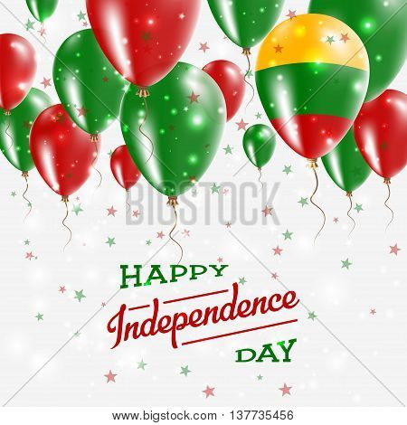 Lithuania Vector Patriotic Poster. Independence Day Placard With Bright Colorful Balloons Of Country