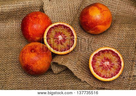 Sicilian Blood Oranges On Canvas Background