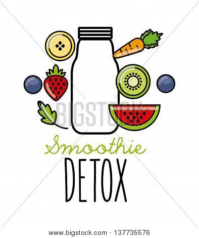 Smoothie and Juice concept represented by tropical detox icon. Isolated and flat illustration.