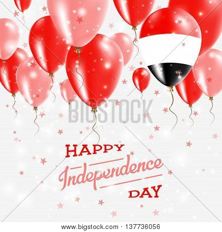 Yemen Vector Patriotic Poster. Independence Day Placard With Bright Colorful Balloons Of Country Nat