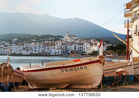 CADAQUES, SPAIN - DECEMBER 19: Fishing boats on the beach of Cadaques a small town on the Costa Brava Spain