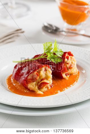Red piquillo peppers stuffed with cod basque spanish cuisine