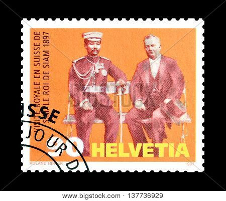 SWITZERLAND - CIRCA 1997 : Cancelled postage stamp printed by Switzerland, that shows Chulalongkorn and Adolf Deucher.