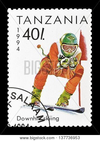 TANZANIA - CIRCA 1994 : Cancelled postage stamp printed by Tanzania, that shows Downhill skiing.