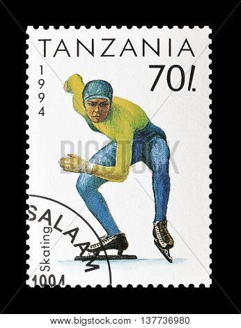 TANZANIA - CIRCA 1994 : Cancelled postage stamp printed by Tanzania, that shows Skating.