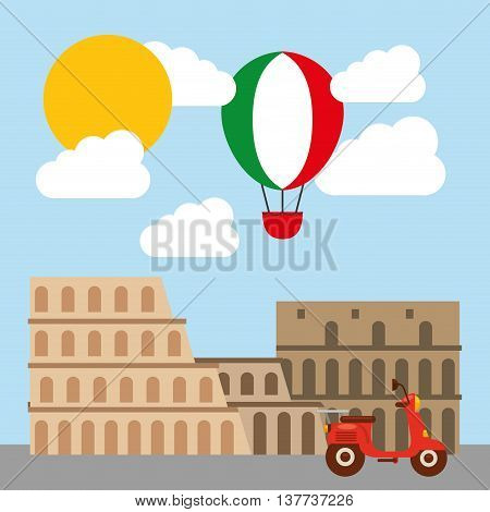 Italy culture concept represented by roman coliseum icon. Colorfull and flat illustration.