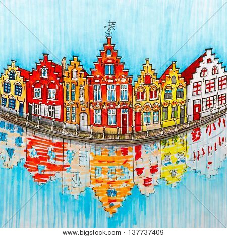 Scenic city view of Bruges canal with beautiful medieval houses Belgium. Picture made markers