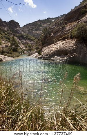 Algars river gorge in Spain. Arens Ravine