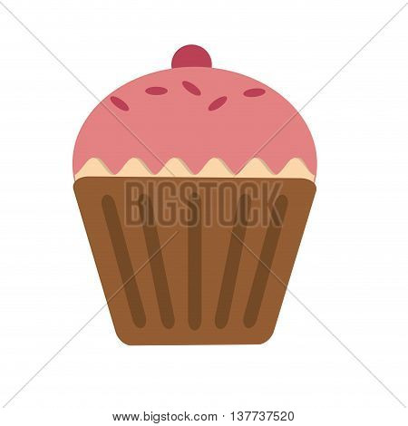 Sweet cup cake, food and dessert Isolated vector illustration