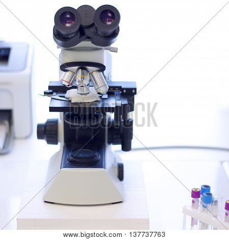Microscope for medical analyzes and tests closeup
