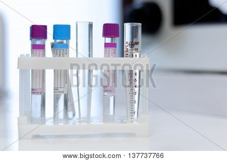 Medical tubes for analysis and test  close up