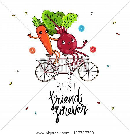Best friends forever. The trend calligraphy. Vector illustration on white background. The concept of friendship. Beets and carrots riding a bicycle.