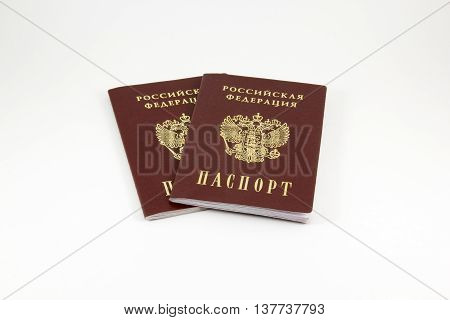 Passport of Russian Federation on a white background