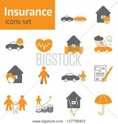 Life healthy home and car insurance flat icons element collection in orange and grey colors