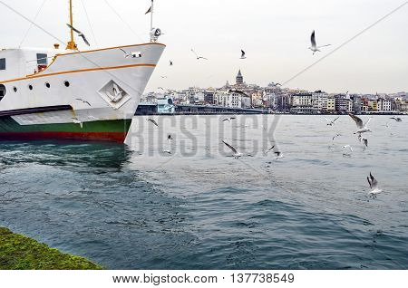 Istanbul Strait ferry and seagulls. Gulls to feed the passion of ferry passengers. Galata bridge and Galata tower in the background.