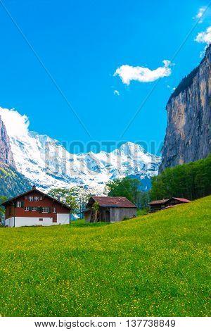 Chalets on green mountain slope. Swiss Alps. Lauterbrunnen Switzerland Europe.
