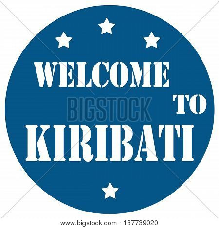 Blue stamp with text Welcome To Kiribati,vector illustration