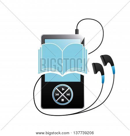Audiobooks and online learning concept represented by book, mp3 and headphone icon. Isolated and flat illustration.