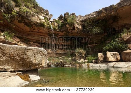 El Salt waterfall in la Portellada. Teruel province