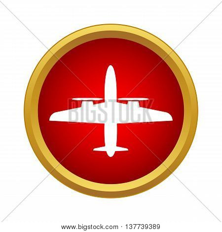 Plane icon in simple style in red circle. Flights symbol
