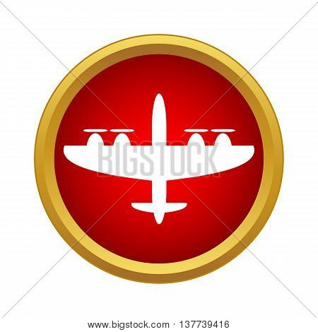 Military aircraft icon in simple style in red circle. Flights symbol