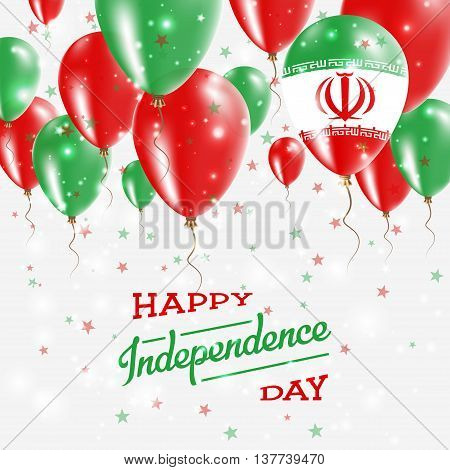 Iran, Islamic Republic Of Vector Patriotic Poster. Independence Day Placard With Bright Colorful Bal