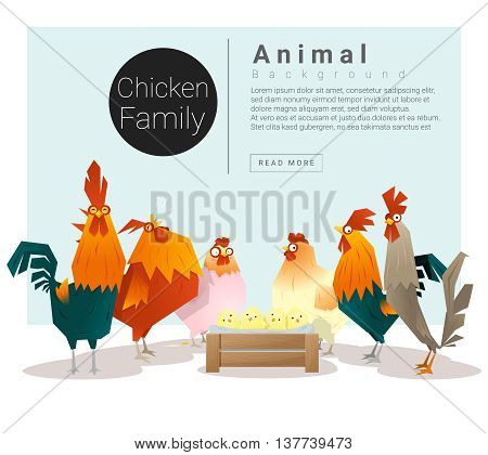 Cute animal family background with Chickens , vector , illustration